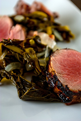 Pork Tenderloin and apple cider braised collard greens