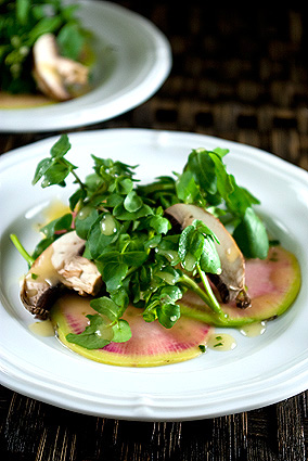 Watermelon Radish and Watercress Salad