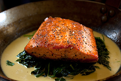 Pan Seared Salmon with Sautéed Spinach and Crème Fraîche