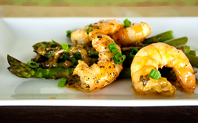 Asparagus and Gulf Shrimp Meunière