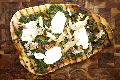 Grilled Chicken Pesto Pizza