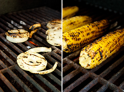 Grilled Corn and Onions