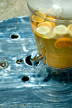 Sun tea with oranges and lemons